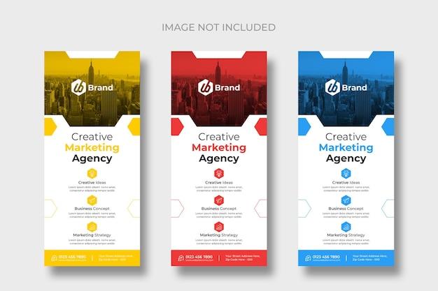 Plantillas modernas de folletos de tarjetas publicitarias o dl
