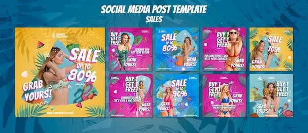 Plantillas de publicaciones de instagram de ventas de verano
