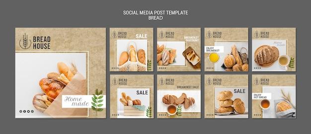 Plantillas de publicaciones de pan recién horneado
