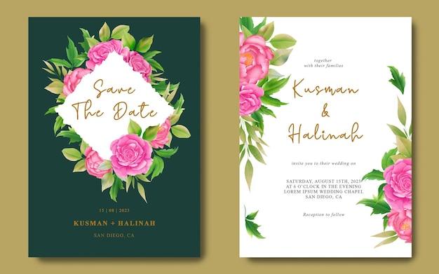 Plantillas de tarjetas de invitación de boda y guarde las tarjetas de fecha con decoraciones de acuarela