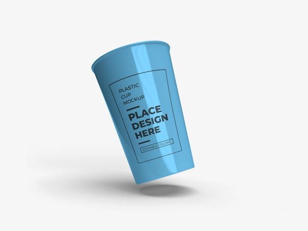 Plastic beker verpakking mockup ontwerp