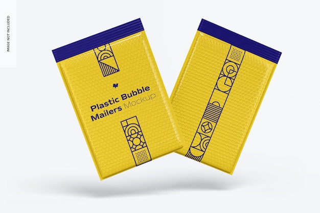 Plastic bubble mailers mockup, drijvend