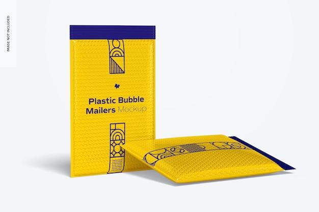Plastic bubble mailers mockup, staand en neergezet