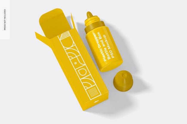 Plastic druppelflesje en doosmodel, bovenaanzicht