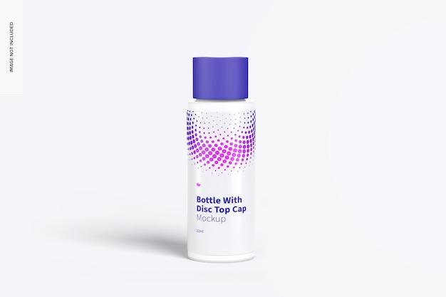 Plastic fles van 22 ml met mockup met schijfdop, vooraanzicht