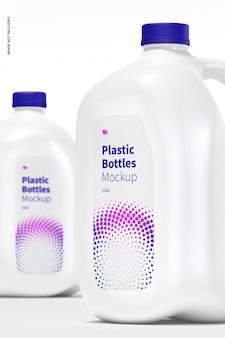 Plastic flessen mockup, close-up