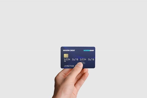 Plastic kaart in de hand mockup