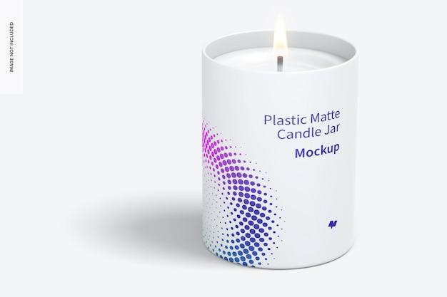 Plastic matte candle jar mockup, vooraanzicht