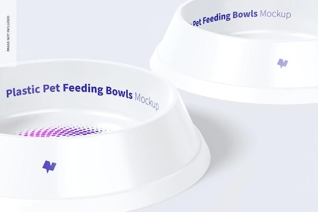 Plastic pet feeding bowls mockup, links aanzicht