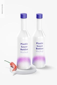 Plastic saus flessen mockup, vooraanzicht