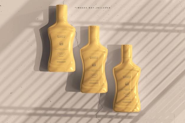 Plastic saus flessen mockup