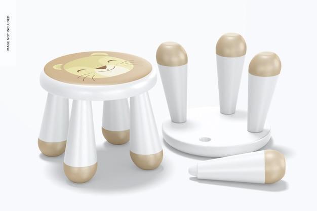 Plastic stoelmodel voor kinderen, staand en neergezet