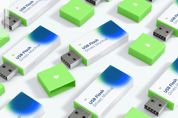 Plastic usb-flashdrives set mockup