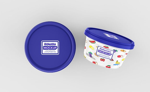 Plastic voedsel container mockup