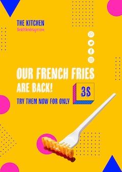 Plastic vork met friesaanbieding