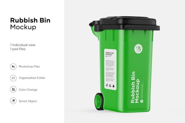 Plastic vuilnisbak mockup ontwerp geïsoleerd