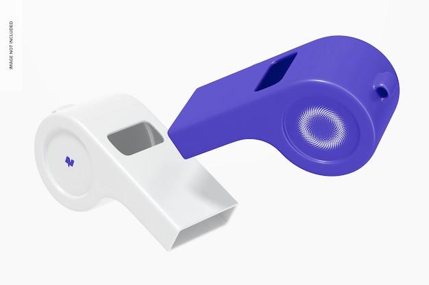 Plastic whistles mockup, falling