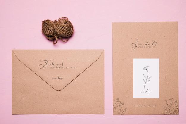 Plat lag bruiloft uitnodiging mock-up