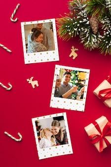 Plat lag gelukkige familiefoto's op kerstmis