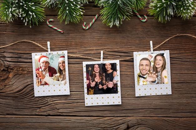 Plat lag gelukkige familiefoto's
