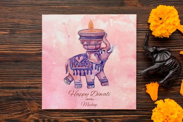 Plat lag happy diwali festival mock-up tekening en bloemblaadjes