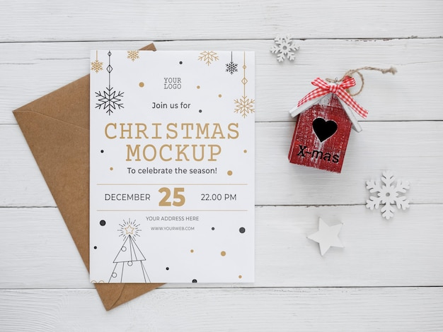 Plat lag kerstavond compositie mock-up