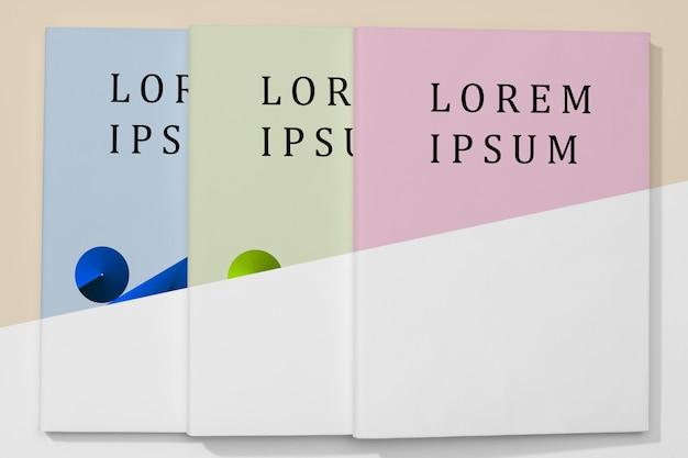 Plat lag kleurrijke boeken mock-up