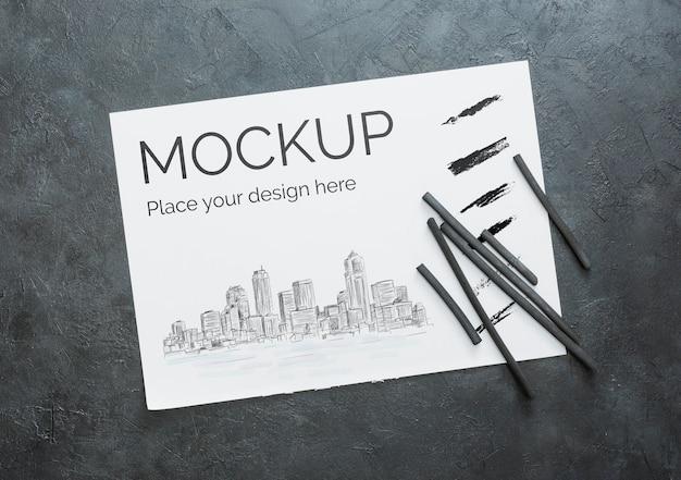 Plat lag kunstenaar concept compositie met papieren mock-up