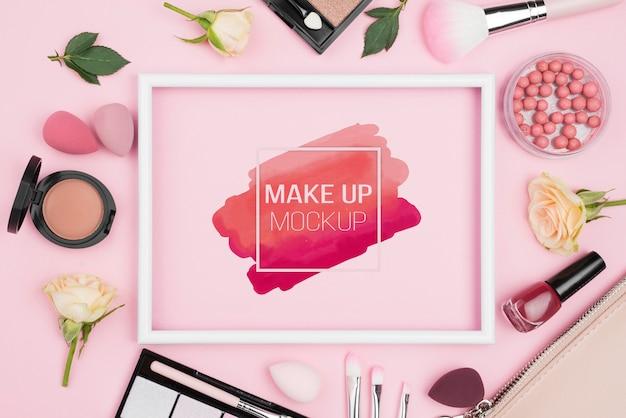 Plat lag make-up concept met producten