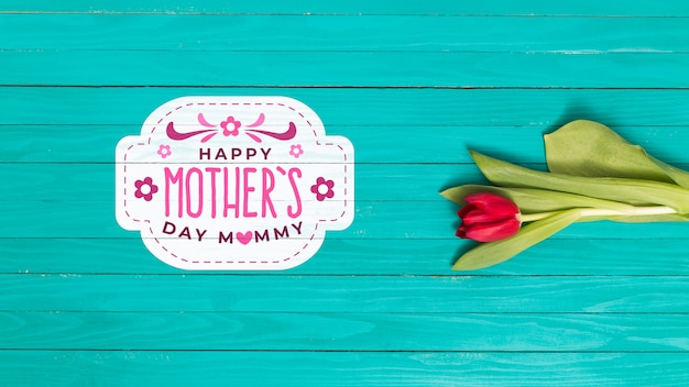 Plat lag moeders dag samenstelling met copyspace voor logo