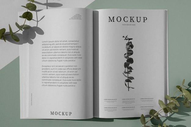 Plat lag natuur tijdschriftdekking mock-up met assortiment bladeren