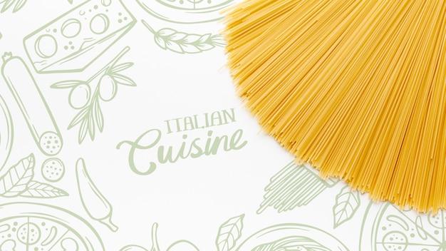 Plat lag ongekookte pasta met hand getrokken achtergrond
