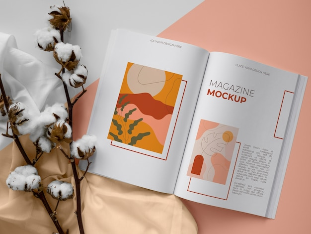 Plat lag open tijdschrift en plantenassortiment