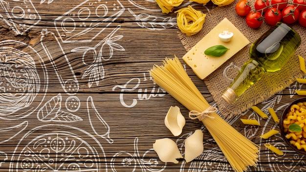 Plat lag pasta ingrediënten op hand getrokken achtergrond