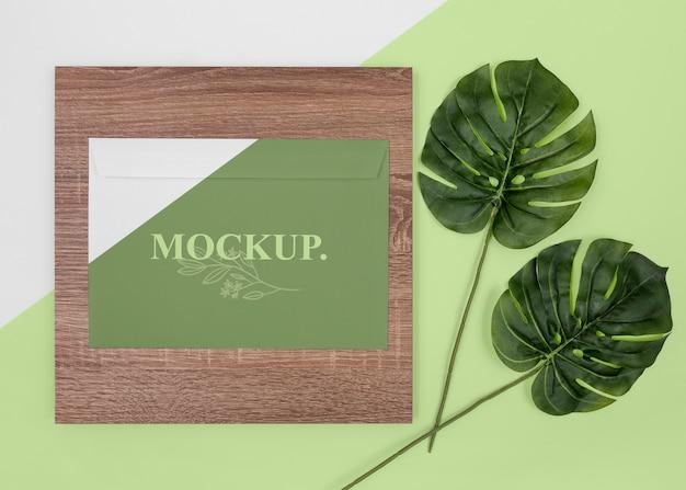 Plat lag plant, briefpapier en hout