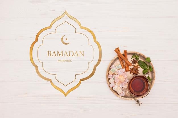 Plat lag ramadan mockup voor logo