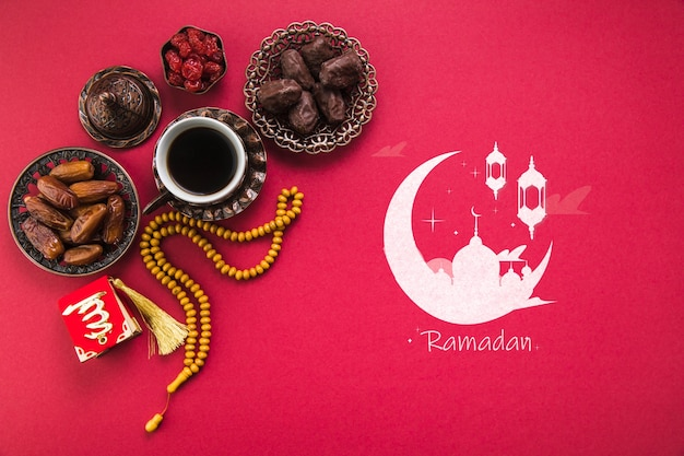 Plat lag ramadan samenstelling met copyspace