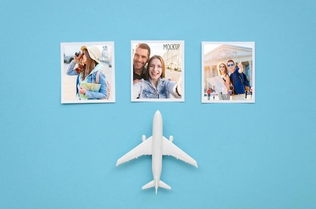 Plat lag reizen concept met vliegtuig speelgoed