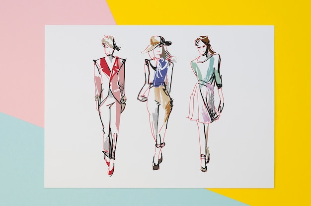 Plat lag samenstelling met kaartmodel op kleurrijke achtergrond