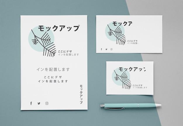 Plat lag verschillende japanse mock-up documenten