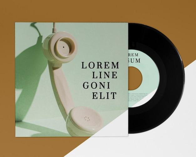 Plat lag vinylplaten mock-up arrangement