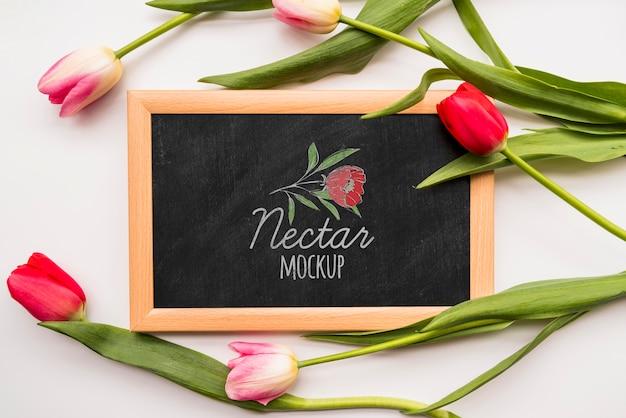 Plat leggen bloemen op blackboard
