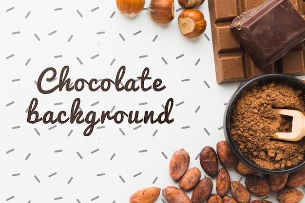 Plat leggen chocolade achtergrond mock-up