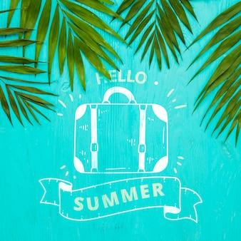 Plat leggen copyspace mockup met zomer concept