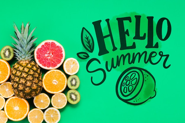 Plat leggen copyspace mockup met zomer fruit