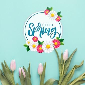 Plat leggen copyspace mockup voor de lente
