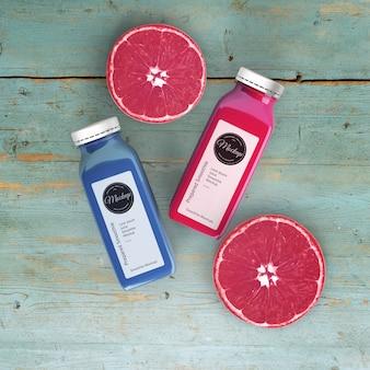 Plat leggen met grapefruit smoothies mock-up