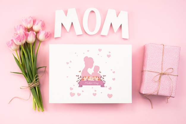 Plat leggen moeders dag kaart mockup