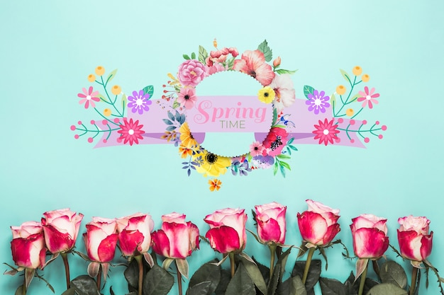 Plat leggen rond kaartmodel voor de lente