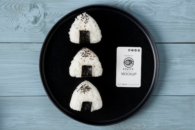 Plat leggen van aziatisch eten concept mock-up